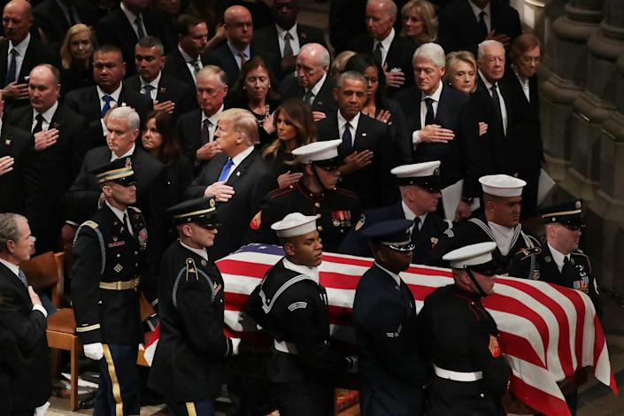President Donald Trump, first lady Melania Trump and former presidents, vice presidents, first ladies and spouses attend the state funeral for former President George H.W. Bush at the National Cathedral, Dec., 5, 2018 in Washington, D.C. (Photo: Chip Somodevilla/Getty Images)