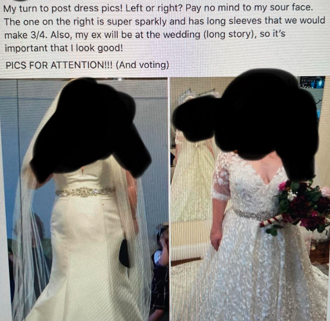 The full post, shared to Reddit, detailed a bizarre reason the bride wanted to look her best. Photo: Reddit