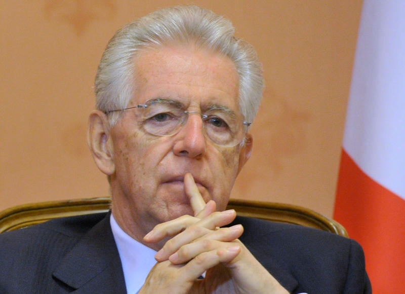 Italian Premier Mario Monti meets with Russian Prime Minister Dmitry Medvedev, not pictured, during a meeting in Moscow on Monday, July 23, 2012.(AP Photo/RIA Novosti, Alexander Astafyev, Government Press Service)