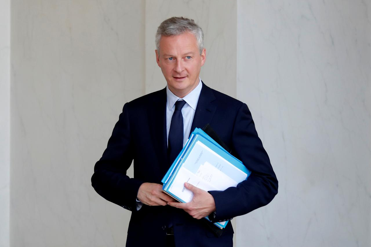 French Finance Minister Bruno Le Maire leaves after the weekly cabinet meeting at the Elysee Palace in Paris, France, June 28, 2017. REUTERS/Charles Platiau