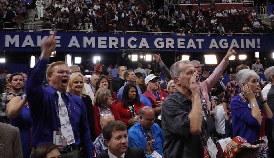 <p>Republican National Convention delegates yell and scream as the Republican National Committee Rules Committee announces that it will not hold a recorded vote on the Rules Committee's Report and rejects the efforts of anti-Trump forces to hold a roll-call vote, at the Republican National Convention in Cleveland, Ohio, U.S., July 18, 2016. (Brian Snyder /Reuters)</p>