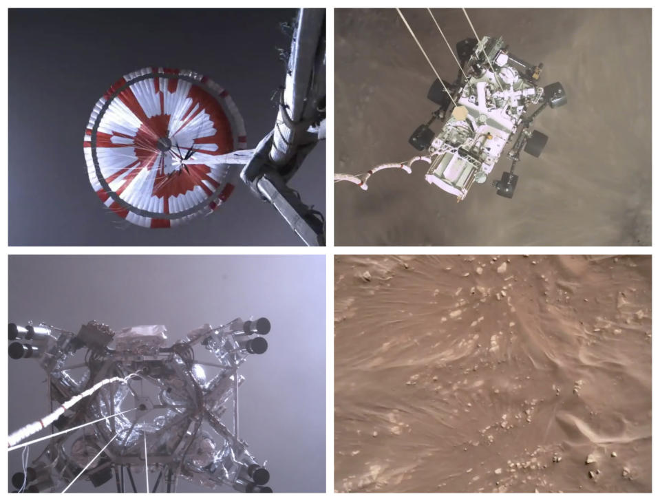 This combination of images from video made available by NASA shows steps in the descent of the Mars Perseverance rover as it approaches the surface of the planet on Thursday, Feb. 18, 2021. (NASA/JPL-Caltech via AP)