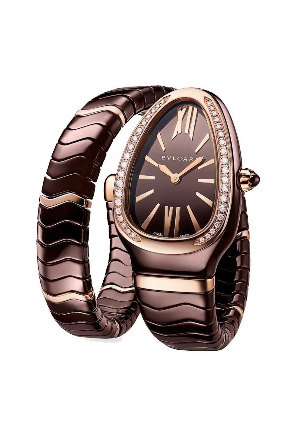 """<p><strong>Bvlgari</strong></p><p>saksfifthavenue.com</p><p><strong>$13000.00</strong></p><p><a href=""""https://go.redirectingat.com?id=74968X1596630&url=https%3A%2F%2Fwww.saksfifthavenue.com%2Fproduct%2Fbvlgari-serpenti-tubogas-18k-rose-gold--brown-ceramic--amp--diamond-single-twist-watch-0400011019692.html%3Fdwvar_0400011019692_color%3DROSE%2BGOLD&sref=https%3A%2F%2Fwww.townandcountrymag.com%2Fstyle%2Fjewelry-and-watches%2Fg36186288%2Fbest-rose-gold-watches-women%2F"""" rel=""""nofollow noopener"""" target=""""_blank"""" data-ylk=""""slk:Shop Now"""" class=""""link rapid-noclick-resp"""">Shop Now</a></p><p>Who among us has not oogled at the iconic Serpenti watch? But this with both rose gold, brown ceramic, and diamonds is a bona fide scene stealer. </p>"""