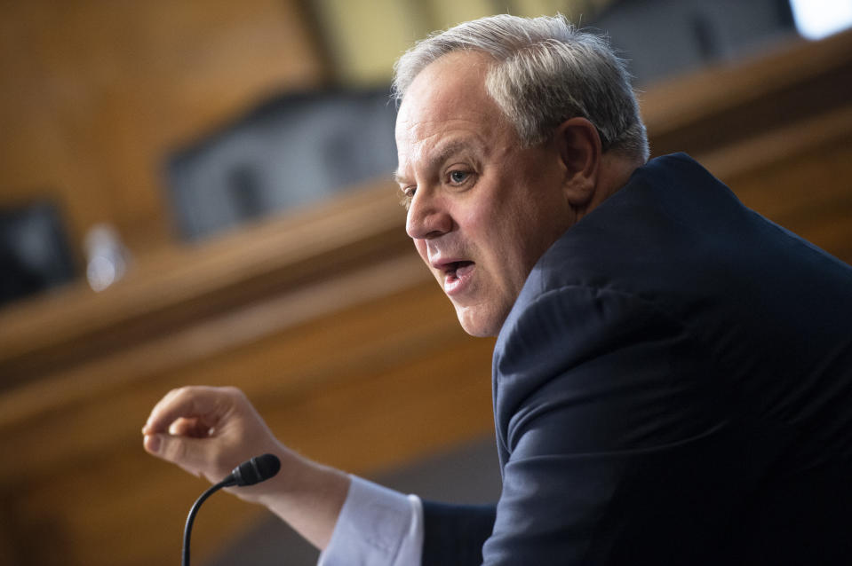 David Bernhardt, Acting Secretary of the Interior, testifies before the Senate Energy and Natural Resources Committee on the FY2021 Interior Department budget in Washington on Tuesday, March 10, 2020. (Caroline Brehman/CQ-Roll Call, Inc via Getty Images)