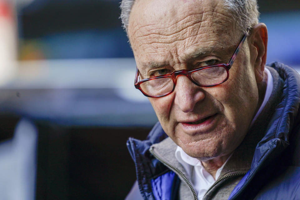 Senate Minority Leader Chuck Schumer, D-N.Y., speaks to reporters during a news conference, Tuesday, Jan. 12, 2021, in New York. (AP Photo/Mary Altaffer)