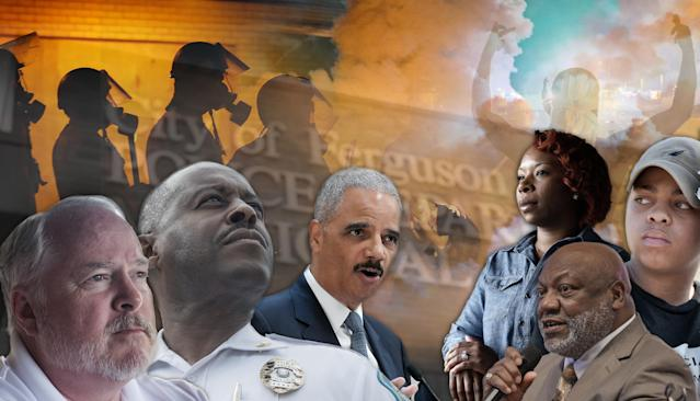 Left to right, former Police Chief Tom Jackson, Police Chief Delrish Moss, former Attorney General Eric Holder, Lezley McSpadden, Rev. Tommie Pierson, Sabrina Webb. (Photo illustration: Yahoo News, photos; Michael Thomas for Yahoo News [2], Mark J. Terrill/AP, Jeff Roberson/AP, Michael Thomas for Yahoo News [2]; background photos: Charlie Riedel/AP, David Carson/St Louis Post-Dispatch/ZUMAPRESS.com, Lucas Jackson/Reuters)