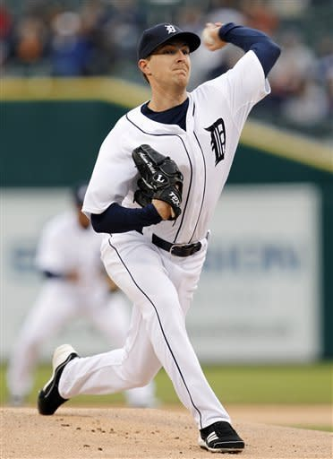 Detroit Tigers pitcher Adam Wilk throws against the Seattle Mariners in the first inning of a baseball game, Wednesday, April 25, 2012, in Detroit. (AP Photo/Paul Sancya)
