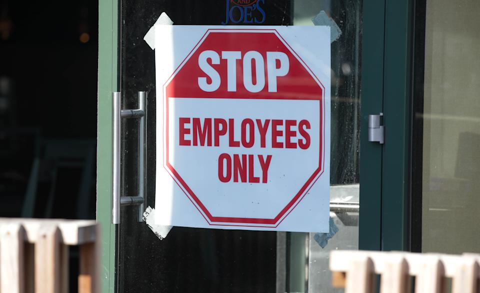 WASHINGTON, USA - MAY 23 : A sign is seen outside a restaurant in Washington D.C, United States on May 23, 2020. Many restaurants in Washington, D.C. that temporarily closed as part of measures against the spread of the coronavirus (COVID-19) are slowly going back to business, but only for takeout and delivery as dine-in ban is still in place. (Photo by Yasin Ozturk/Anadolu Agency via Getty Images)