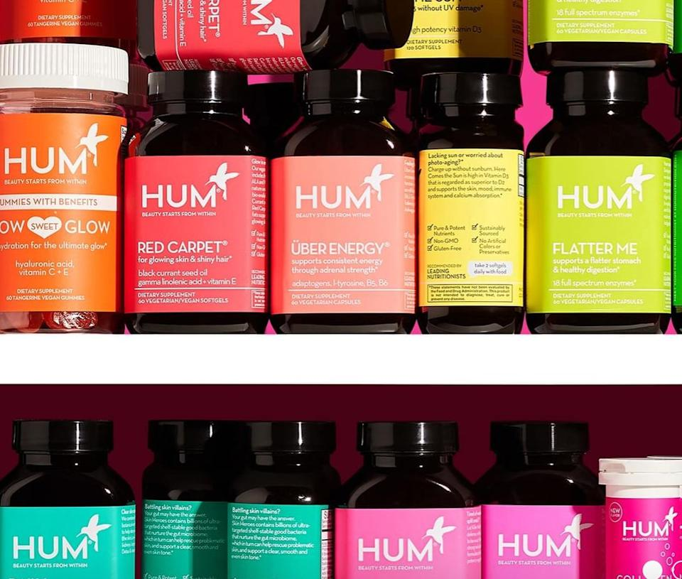"""<a href=""""https://fave.co/3gGaP62"""" target=""""_blank"""" rel=""""noopener noreferrer"""">HUM</a> has lots of different vitamins and supplements, including <a href=""""https://fave.co/2AKDwzo"""" target=""""_blank"""" rel=""""noopener noreferrer"""">popular hair gummies</a>and <a href=""""https://fave.co/3iPBkrw"""" target=""""_blank"""" rel=""""noopener noreferrer"""">collagen vitamins</a>. You can add the bottles to your cart individually or choose a <a href=""""https://fave.co/3gGaP62"""" target=""""_blank"""" rel=""""noopener noreferrer"""">monthly plan</a> to get delivered to your door. You can change what's in the box, too.<br /><br />Check out <a href=""""https://fave.co/3gGaP62"""" target=""""_blank"""" rel=""""noopener noreferrer"""">HUM's monthly plans</a>."""