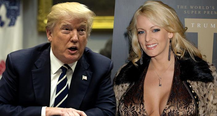 Donald Trump, Stormy Daniels. (Yahoo News photo illustration; photos: Carolyn Kaster/AP, Gregg DeGuire/WireImage/Getty Images)