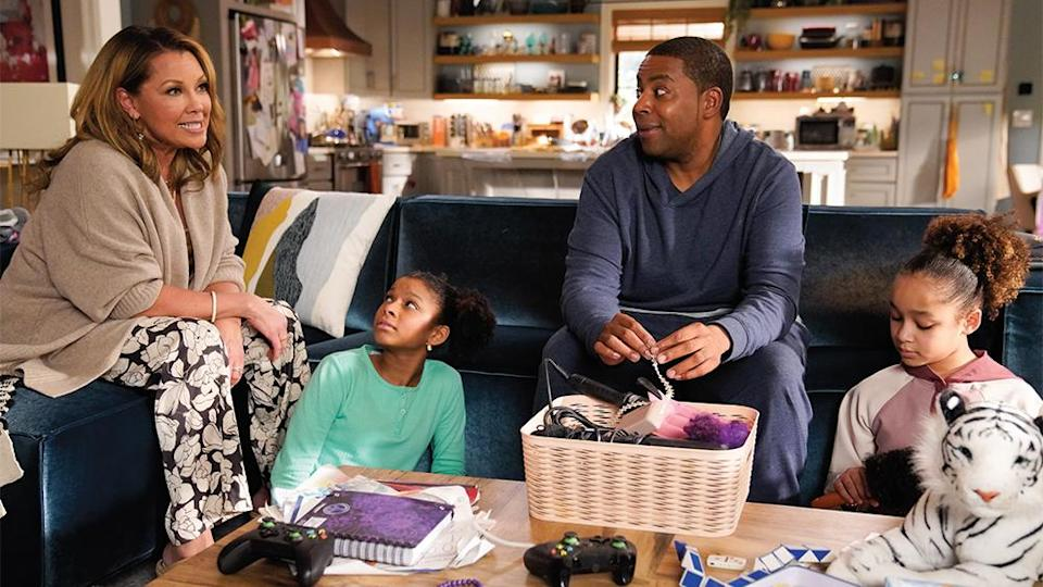"""Kenan Thompson (second from right with Vanessa Williams, Dani Lane and Dannah Lane) made it into a lead acting Emmy race for the first time with """"Kenan."""" - Credit: Casey Durkin/NBC"""