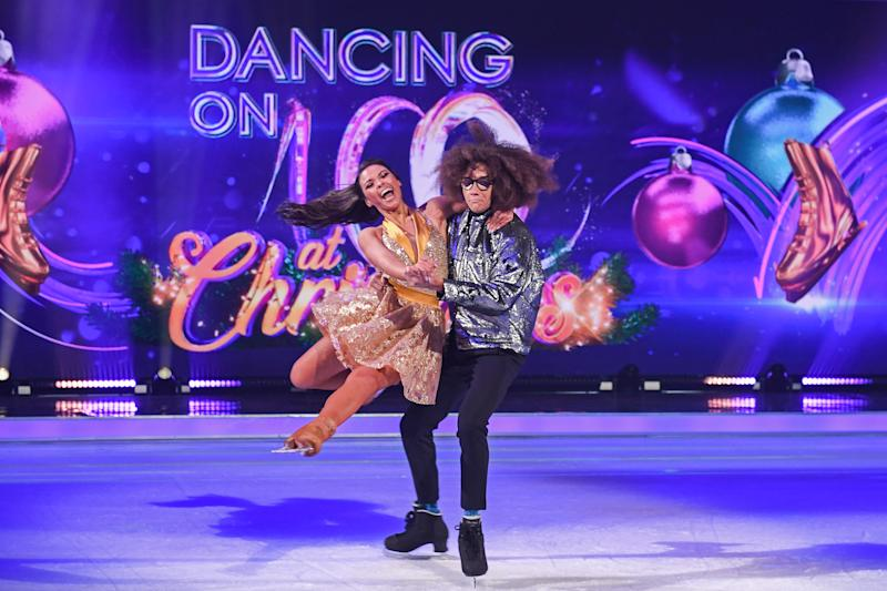 LONDON, ENGLAND - DECEMBER 09: Perri Kiely and Vanessa Bauer on the ice during the Dancing On Ice 2019 photocall at ITV Studios on December 09, 2019 in London, England. (Photo by Stuart C. Wilson/Getty Images)