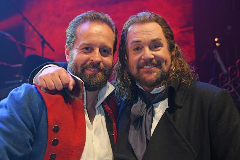 "LONDON, ENGLAND - AUGUST 21: Alfie Boe and Michael Ball attend the press night performance of ""Les Miserables: The Staged Concert"" at The Gielgud Theatre on August 21, 2019 in London, England. (Photo by David M. Benett/Dave Benett/Getty Images)"
