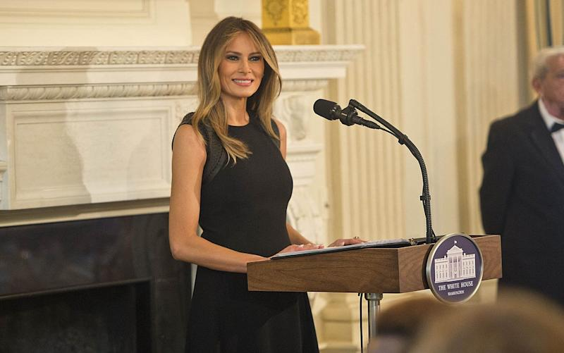 Mrs Trump talked about growing up under communism and coming to America as an immigrant at the IWD event - Copyright (c) 2017 Rex Features. No use without permission.