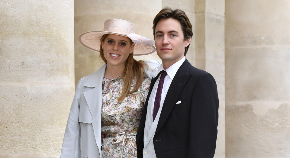 PARIS, FRANCE - OCTOBER 19: Princess Beatrice d'York and her fiance Edoardo Mapelli Mozzi attend the Wedding of Prince Jean-Christophe Napoleon and Olympia Von Arco-Zinneberg at Les Invalides on October 19, 2019 in Paris, France. (Photo by Luc Castel/Getty Images)