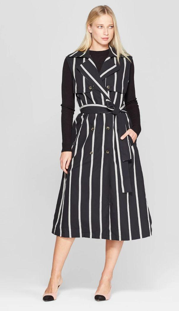 Who What Wear Sleeveless Striped Button Detailed Belted Draped Trench  (Photo: Target)