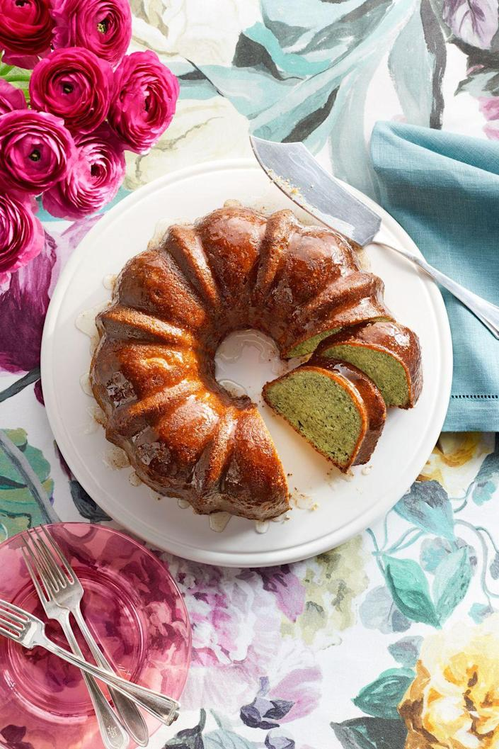 """<p>Break out the ol' bundt cake pan and whip up this tasty Mother's Day dessert.</p><p><strong><a href=""""https://www.countryliving.com/food-drinks/recipes/a37735/pistachio-lemon-bundt-cake-recipe/"""" rel=""""nofollow noopener"""" target=""""_blank"""" data-ylk=""""slk:Get the recipe"""" class=""""link rapid-noclick-resp"""">Get the recipe</a>.</strong></p><p><a class=""""link rapid-noclick-resp"""" href=""""https://www.amazon.com/Nordic-Ware-Cast-Original-Bundt/dp/B000HM9UDO/?tag=syn-yahoo-20&ascsubtag=%5Bartid%7C10050.g.3185%5Bsrc%7Cyahoo-us"""" rel=""""nofollow noopener"""" target=""""_blank"""" data-ylk=""""slk:SHOP BUNDT PANS"""">SHOP BUNDT PANS</a><br></p>"""