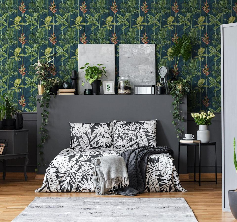 "<p><strong>Paradise Tropics Teal Wallpaper, £40</strong></p><p><a class=""link rapid-noclick-resp"" href=""https://go.redirectingat.com?id=127X1599956&url=https%3A%2F%2Fwww.homebase.co.uk%2Fhouse-beautiful-paradise-tropics-teal-wallpaper%2F12945378.html&sref=https%3A%2F%2Fwww.redonline.co.uk%2Finteriors%2Feasy-to-steal-ideas%2Fg36273018%2Fhomebase-wallpaper%2F"" rel=""nofollow noopener"" target=""_blank"" data-ylk=""slk:BUY NOW"">BUY NOW</a></p>"