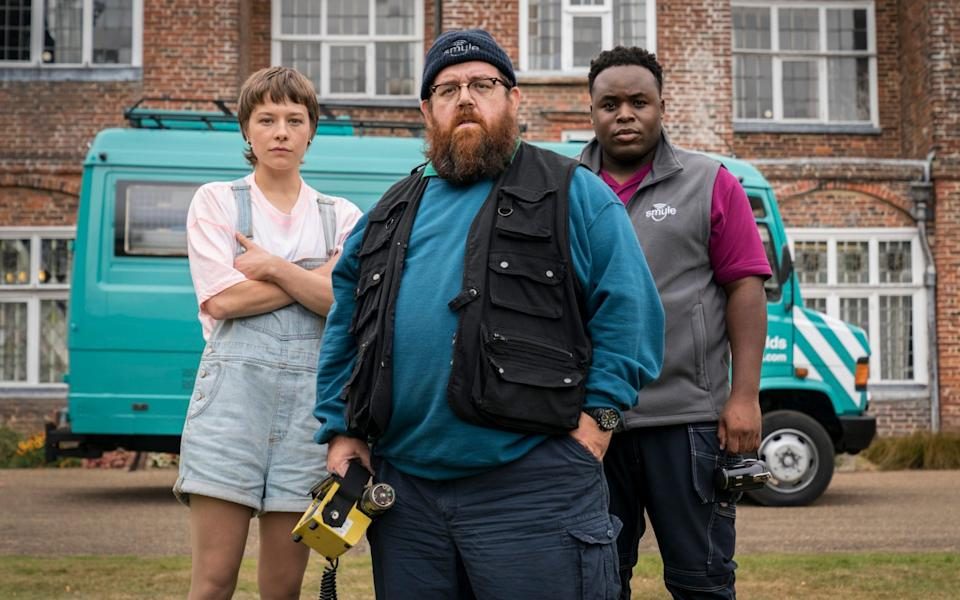 Haunted by the ghosts of the show it never quite becomes: Colin Hutton, Nick Frost, and Samson Kayo in Truth Seekers - Colin Hutton