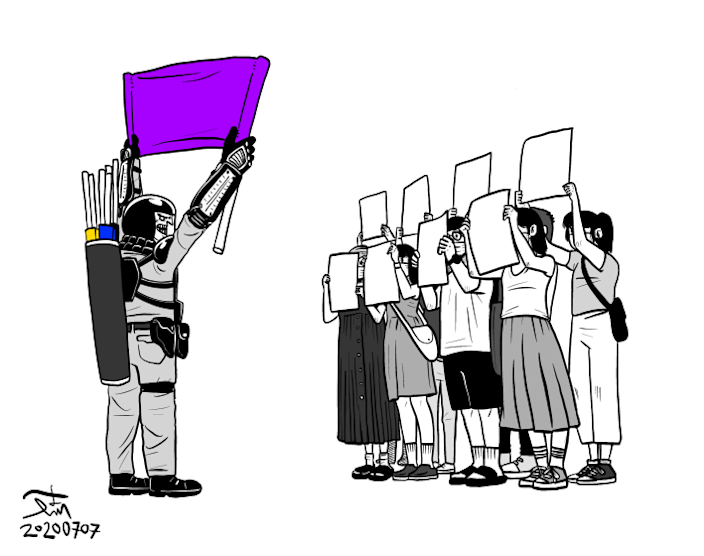 """A cartoon by Hong Kong artist Kit Man depicts protesters facing police with blank sheets of paper after the passage of a new national security law. <span class=""""copyright"""">(Kit Man)</span>"""