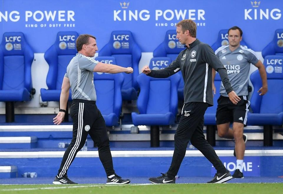 Graham Potter (right) pits his Brighton side against Brendan Rodgers' (left) Leicester on Sunday (Michael Regan/NMC Pool/PA). (PA Archive)