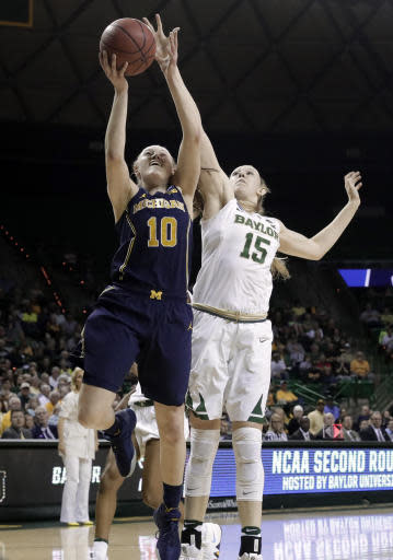 Michigan guard Nicole Munger (10) goes up for a shot as Baylor's Lauren Cox (15) defends in the first half of a second-round game at the NCAA women's college basketball tournament in Waco, Texas, Sunday, March 18, 2018. (AP Photo/Tony Gutierrez)