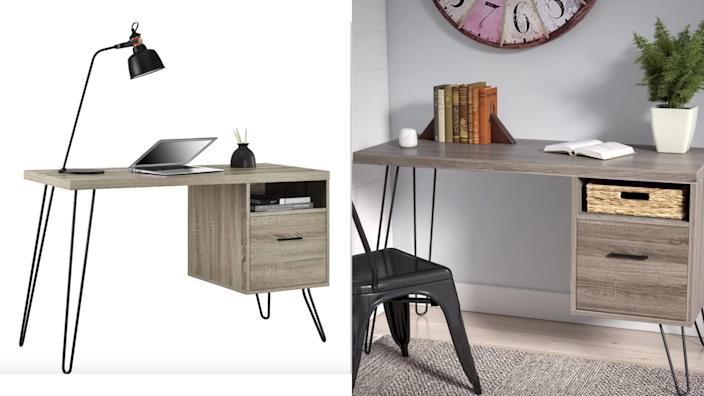 The only desk on this list with a filing cabinet.