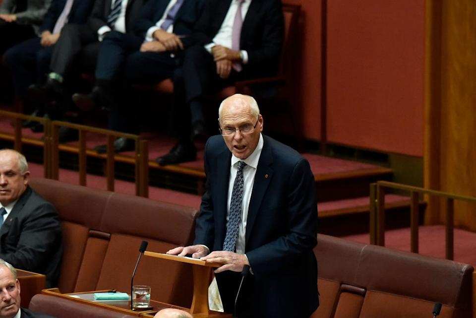 Senator Jim Molan delivers his first speech in the Senate in Canberra, Australia.