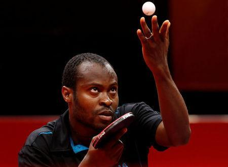 Table Tennis - Gold Coast 2018 Commonwealth Games - Men's Singles - Gold Medal Match - Nigeria v Singapore - Oxenford Studios - Gold Coast, Australia - April 15, 2018. Quadri Aruna of Nigeria serves. REUTERS/Jeremy Lee
