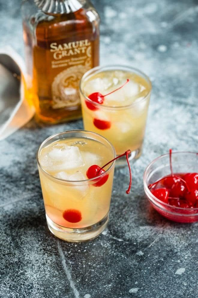 """<p>An old-school classic made only with the freshest ingredients, there's nothing quite like a whiskey sour, and the folks of New Orleans know this to be true. To make it complete, just top it off with a couple maraschino cherries or added shots - your choice.</p> <p><strong>Get the recipe</strong>: <a href=""""https://www.culinaryhill.com/whiskey-sour-cocktail/"""" class=""""link rapid-noclick-resp"""" rel=""""nofollow noopener"""" target=""""_blank"""" data-ylk=""""slk:whiskey sour"""">whiskey sour</a></p>"""