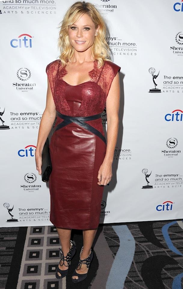 <b>Who:</b> Julie Bowen<br /><br /><b>Wearing:</b> Leather and lace<br /><br /><b>Where:</b> Television Academy cocktail reception in Los Angeles