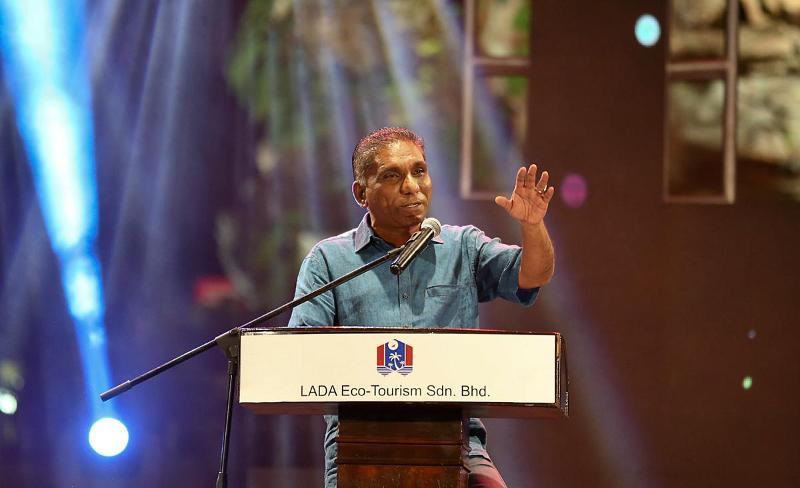 Treasury Secretary General Datuk Seri Irwan Serigar addresses the crowd during the Langkawi Hebat Concert at Dataran Lang in Langkawi
