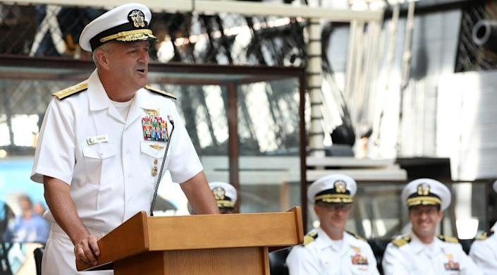 """Rear Adm. Collin P. Green, shown delivering remarks in Washington on July 30, 2019, has called for an ethics review of the Special Warfare Command. """"I don't know yet if we have a culture problem, I do know that we have a good order and discipline problem that must be addressed immediately"""" Green wrote in a message to the force. (Photo: Laura Lakeway/U.S. NAVY)"""