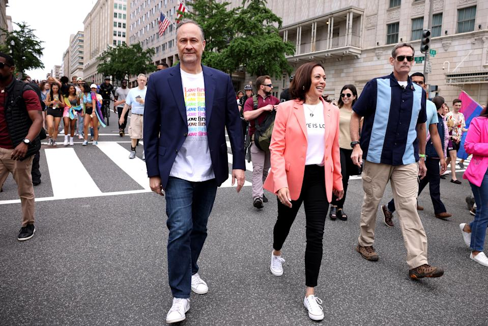 Vice President Kamala Harris and husband Doug Emhoff join marchers for the Capital Pride Parade on June 12, 2021 in Washington, DC.