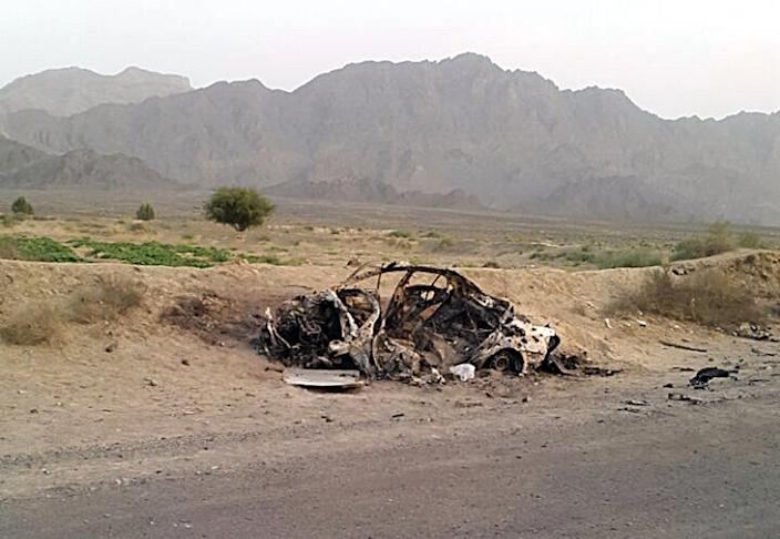 The destroyed vehicle in which Taliban leader Mohammad Akhtar Mansour was traveling in the Baluchistan province of Pakistan, near the Afghanistan border, May 22, 2016. (Photo: Abdul Salam Khan/AP)