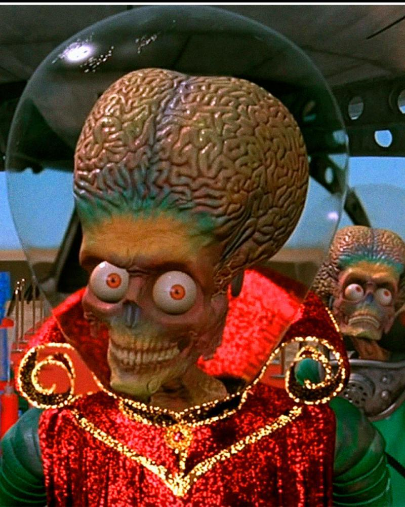 A scene from the film Mars Attacks, however any lifeforms on the Red Planet are almost certainly likely to be simple organisms.
