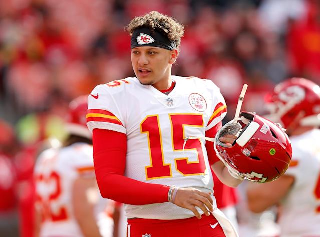 "<a class=""link rapid-noclick-resp"" href=""/nfl/players/30123/"" data-ylk=""slk:Patrick Mahomes"">Patrick Mahomes</a> is teaching Chiefs fans poor food habits. (Getty)"