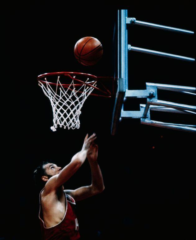 The Soviet Olympic basketball team won 51-50 in the final game against the United States, giving them the gold medal. Here is Aleksander Belov scoring the winning basket. (Photo: Bettmann via Getty Images)