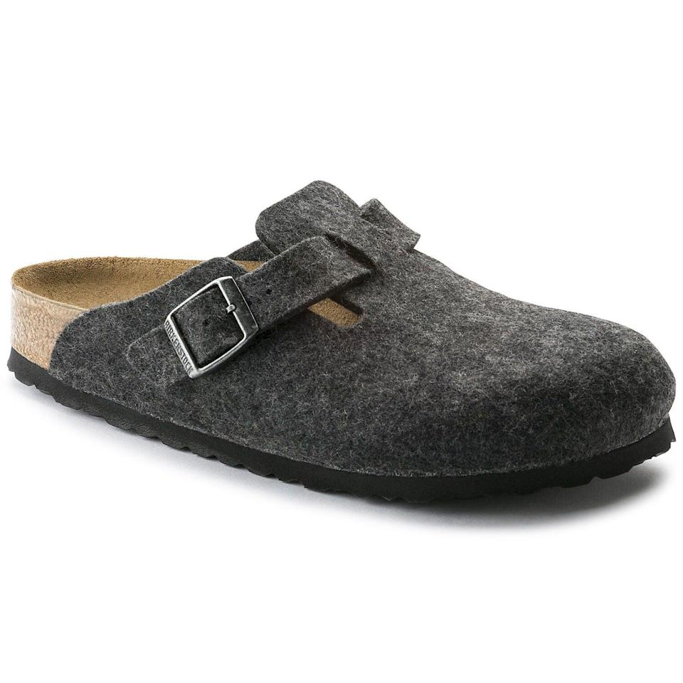 "I'm late to the party, I know! But seeing as I'm only going to be spending more time at home, I think my feet should finally have some comfy house shoes to slip into.<br><br><strong>Birkenstock</strong> Boston Wool Felt, $, available at <a href=""https://www.birkenstock.com/gb/boston-wool-felt/boston-core-woolfelt-0-eva-u.html?dwvar_boston-core-woolfelt-0-eva-u_color=2075#lang=en_GB&q=boston+wool"" rel=""nofollow noopener"" target=""_blank"" data-ylk=""slk:Birkenstock"" class=""link rapid-noclick-resp"">Birkenstock</a>"