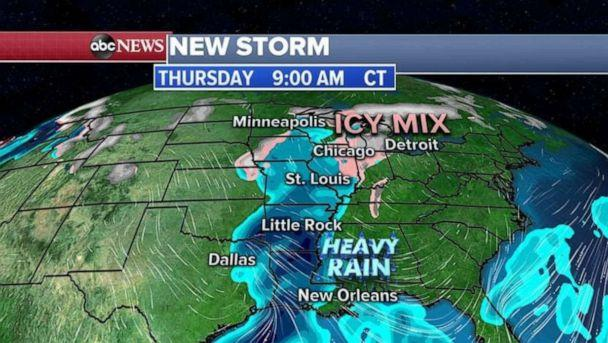 PHOTO: This storm will cross the Rockies tomorrow and is expected to bring an icy mix of snow, sleet and freezing rain to the Midwest and the Great Lakes on Thursday and Friday with heavy rain in the South. (ABC News)