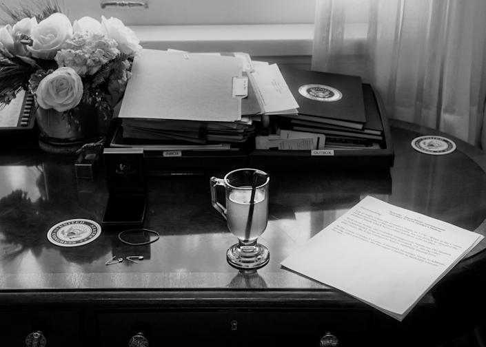 Pelosi's desk in her office at the Capitol on December 5. | Philip Montgomery for TIME