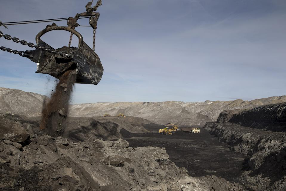 A dragline removes overburden in pit J19 at the Kayenta Mine, which provides coal to the Navajo Generation Station near Page, Ariz.