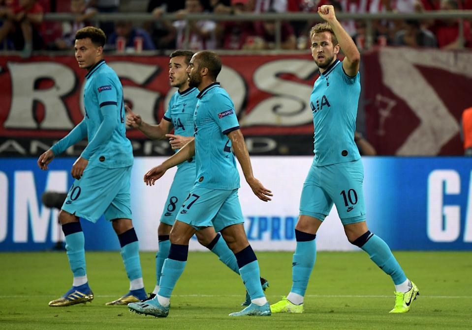 Harry Kane celebrates after putting Spurs in front. (Photo by ARIS MESSINIS / AFP)        (Photo credit should read ARIS MESSINIS/AFP/Getty Images)