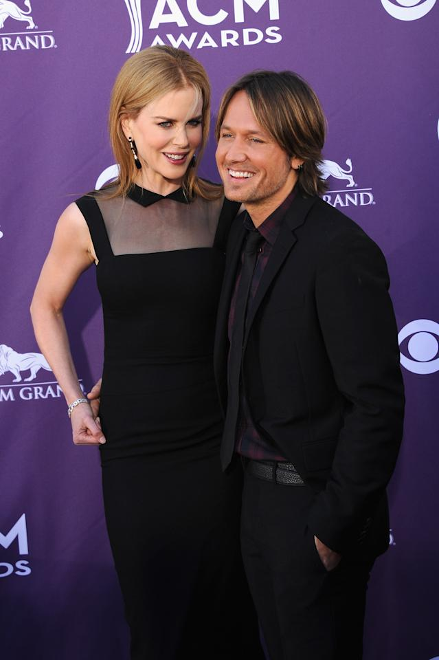 LAS VEGAS, NV - APRIL 01:  Actress Nicole Kidman (L) and musician Keith Urban arrive at the 47th Annual Academy Of Country Music Awards held at the MGM Grand Garden Arena on April 1, 2012 in Las Vegas, Nevada.  (Photo by Jason Merritt/Getty Images)