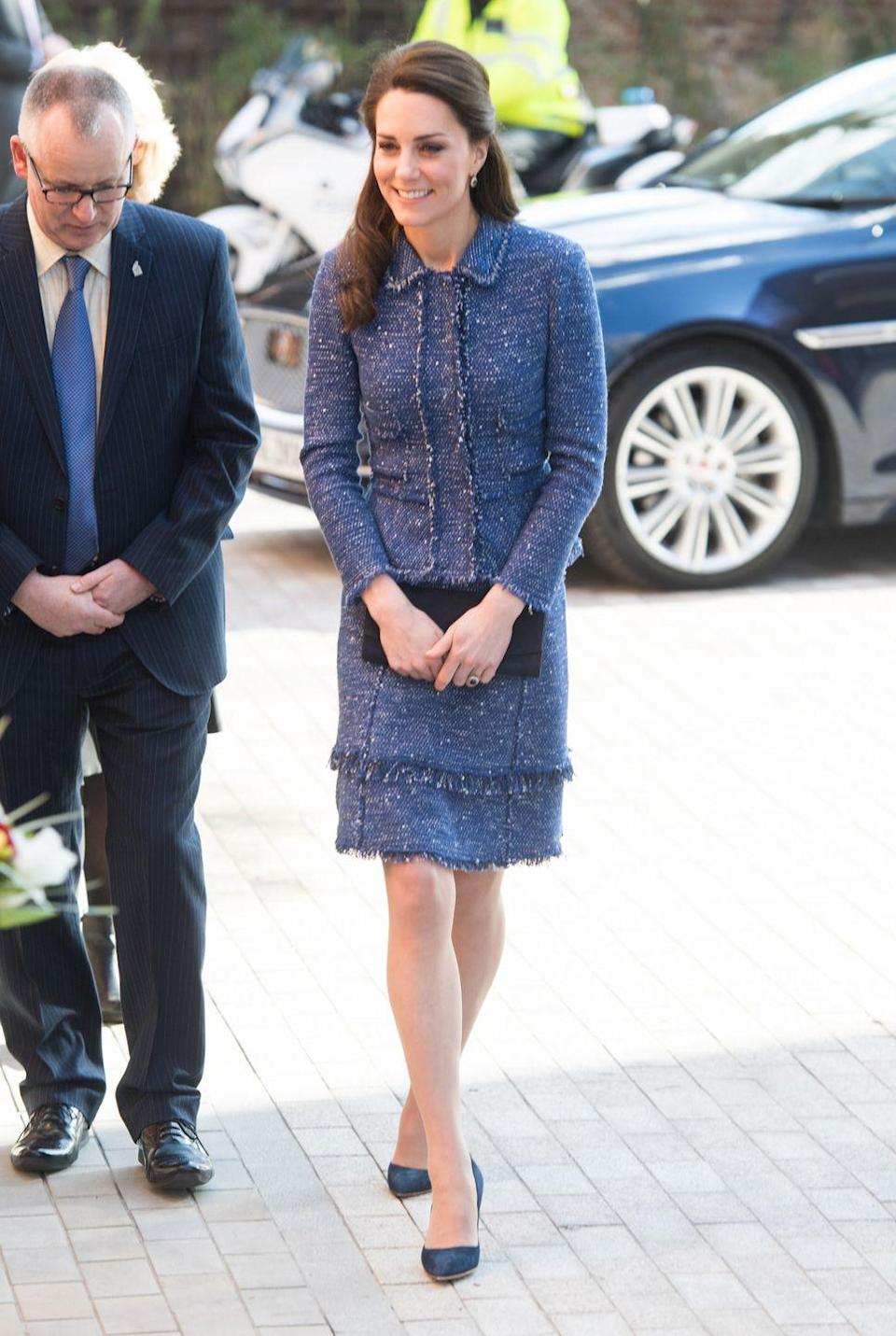 <p>For the the opening of Ronald McDonald House Evelina London, The Duchess of Cambridge wears a blue tweed suit from Rebecca Taylor.</p>