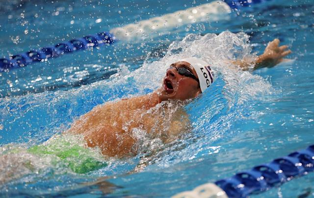 AUSTIN, TX - JANUARY 16: Ryan Lochte swims in the Men's 400 meter individual medley during the Arena Pro Swim Series at Austin on January 16, 2016 in Austin, Texas. (Photo by Ronald Martinez/Getty Images)