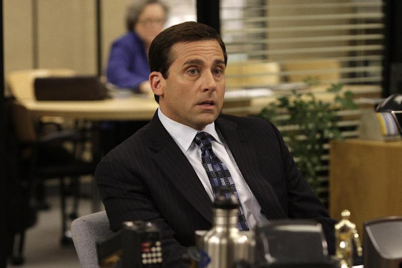 "This undated image released by NBC shows Steve Carell as Michael Scott in a scene from ""The Office.""  Producer Greg Daniels says the NBC comedy will conclude business at Dunder Mifflin after the upcoming ninth season. He said Tuesday, Aug. 21, 2012, that the final year will be exciting and memorable and will take creative chances.  (AP Photo/NBC, Byron Cohen)"