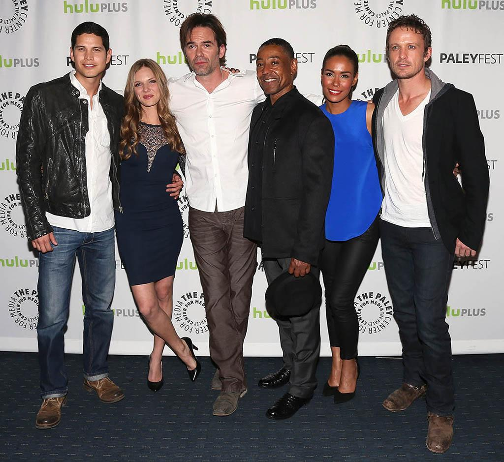 "JD Pardo, Tracy Spiridakos, Billy Burke, Giancarlo Esposito, Daniella Alonso and David Lyons attend the 30th annual PaleyFest featuring the cast of ""Revolution"" at the Saban Theatre on March 2, 2013 in Beverly Hills, California."
