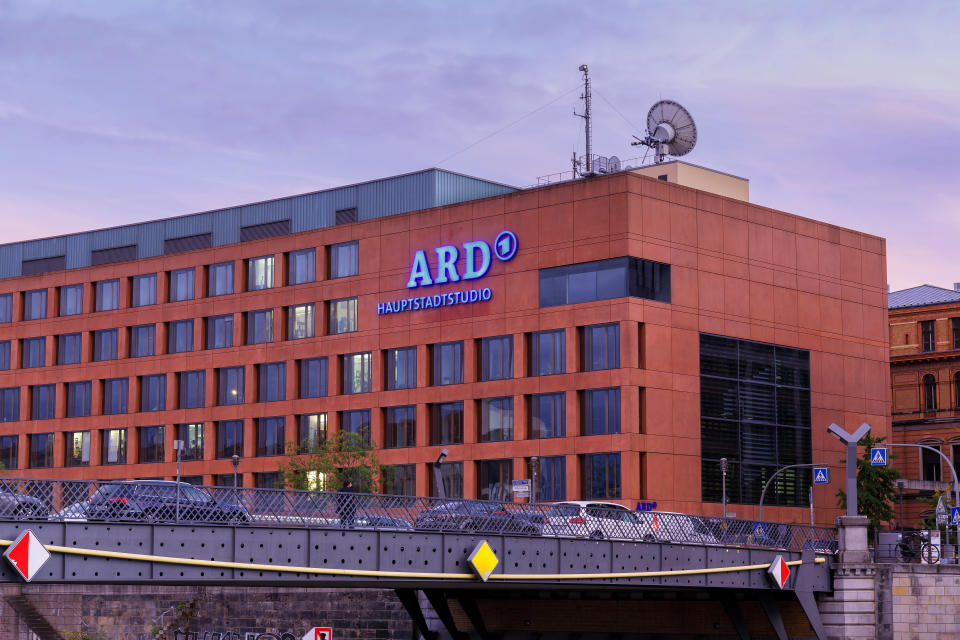 Berlin, Germany - September 26, 2018: The offices and studio of the first German television channel ARD in Berlin at dusk