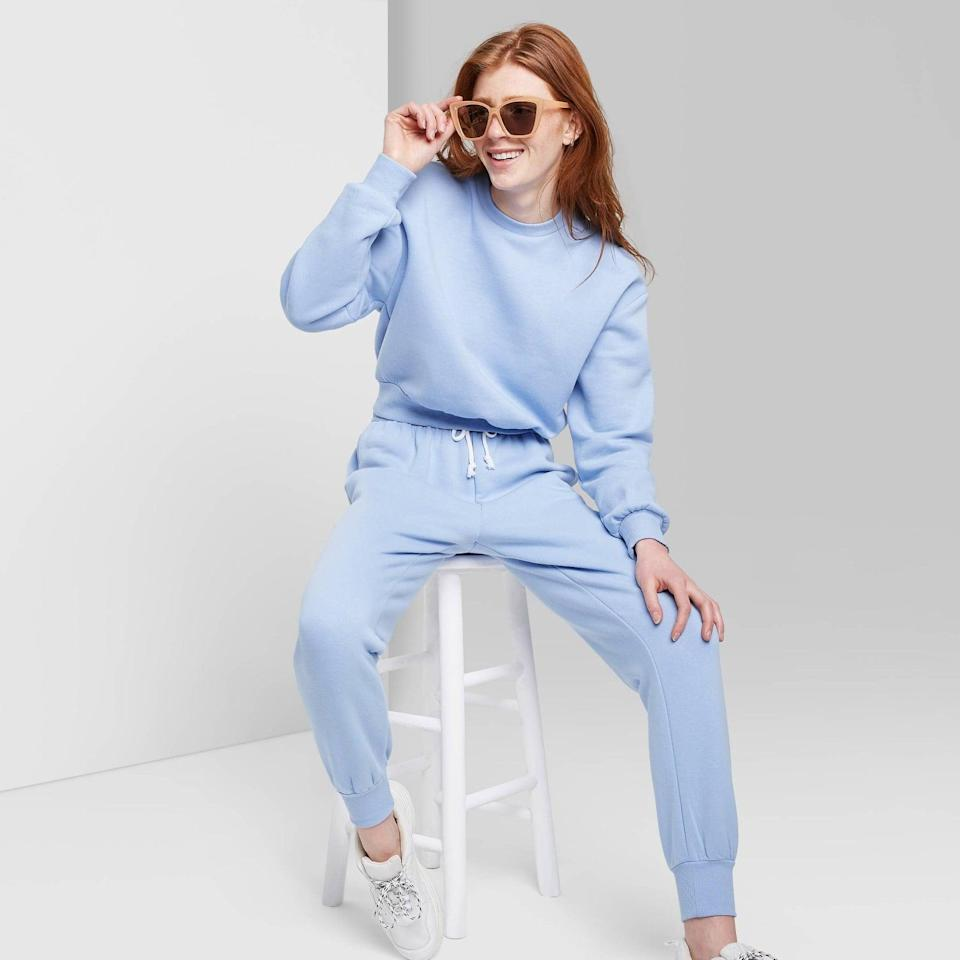 <p>This <span>Wild Fable Sweatshirt</span> ($15) comes in so many sizes and colors, so everyone can find their favorite. The baby blue color is so cute.</p>
